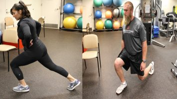 Wrong (Left):  Common lunge mistakes include lifting your front heel off the floor or bending your front knee too far forward so it extends over your foot.  Correct (Right): Keep your front heel on the floor and make sure the rear knee is aimed directly at the floor, not out to the side at an angle.