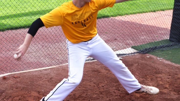 Ethan Hammerberg throws off a mound during practice. Hammerberg was part of a new study at The Ohio State University Wexner Medical Center that researched arm pain and overuse injuries in high school baseball pitchers.