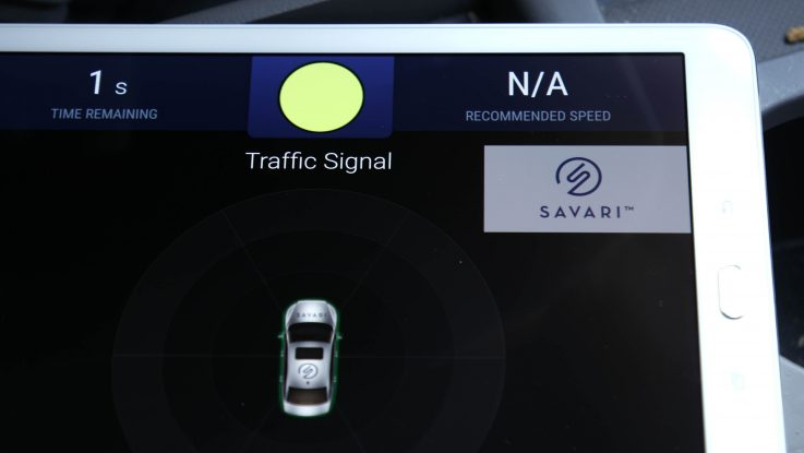 A connected technology application displays traffic signal information and speed recommendations on an on-board tablet as a driver pulls up to an intersection. The technology allows vehicles, traffic lights, crosswalks and other infrastructure to communicate, making the roads safer and smarter.